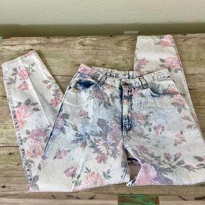 USA vintage 80s acid floral high waist mom taper
